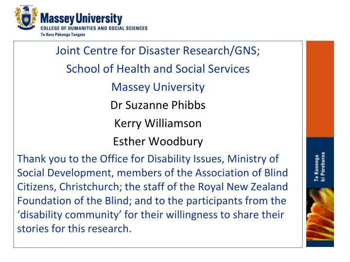 Joint Centre for Disaster Research/GNS;