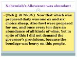 nehemiah s allowance was abundant