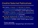 credits selected publications