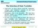 the selection of state variables