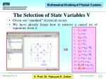 the selection of state variables v