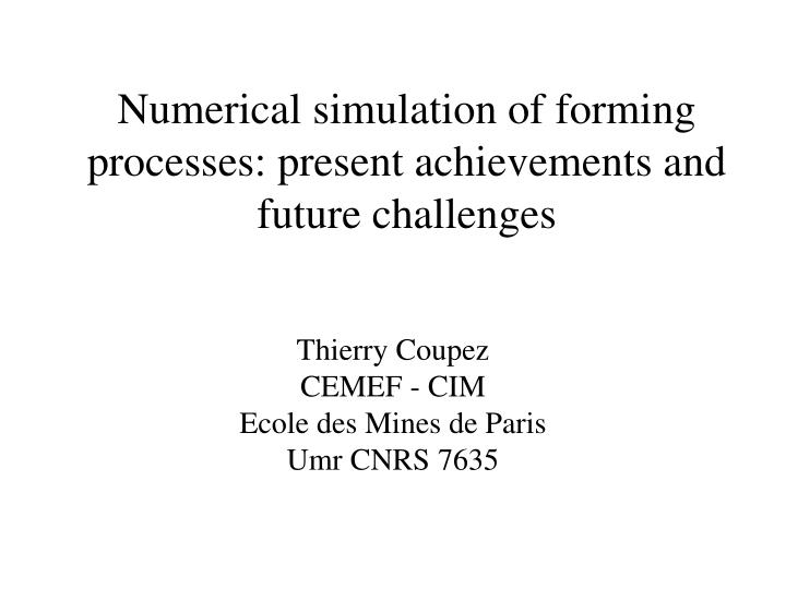 numerical simulation of forming processes present achievements and future challenges n.