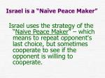 israel is a na ve peace maker