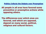 politics infects the debate over preemption