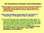 the precautionary principle in the united states