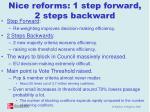 nice reforms 1 step forward 2 steps backward