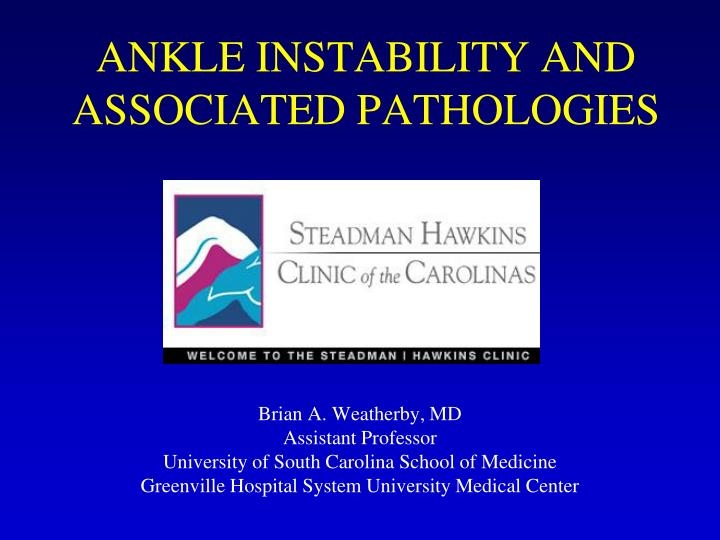 ankle instability and associated pathologies n.