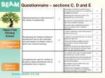 questionnaire sections c d and e