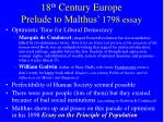18 th century europe prelude to malthus 1798 essay