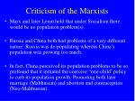 criticism of the marxists