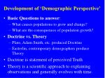 development of demographic perspective