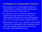 establishing your demographic perspective