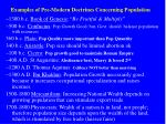 examples of pre modern doctrines concerning population