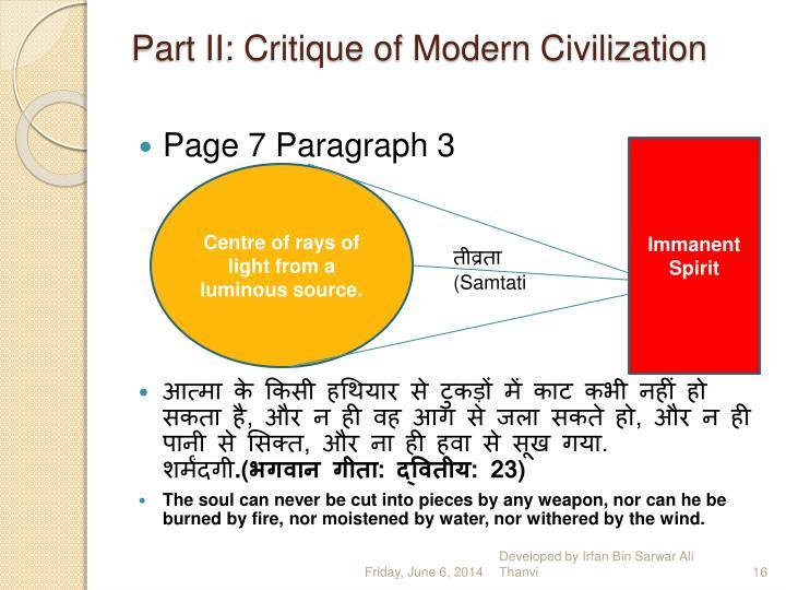 Part II: Critique of Modern Civilization