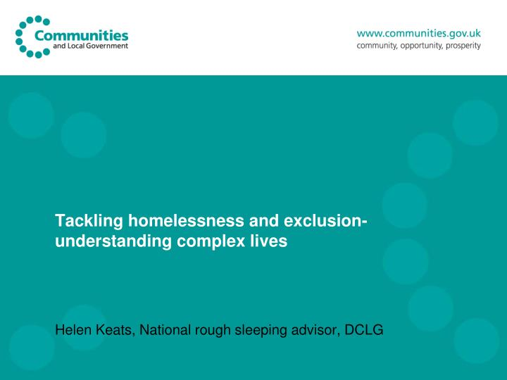 tackling homelessness and exclusion understanding complex lives n.