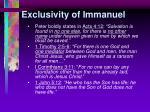 exclusivity of immanuel