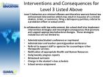 interventions and consequences for level 3 listed above