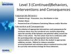 level 3 continued behaviors interventions and consequences