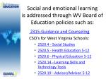 social and emotional learning is addressed through wv board of education policies such as
