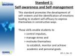 standard 1 self awareness and self management