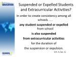 suspended or expelled students and extracurricular activities