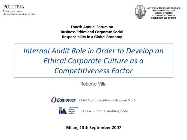 internal audit role in order to develop an ethical corporate culture as a competitiveness factor n.