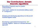 our contributions domain theoretic algorithms