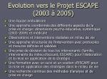 evolution vers le projet escape 2003 2005