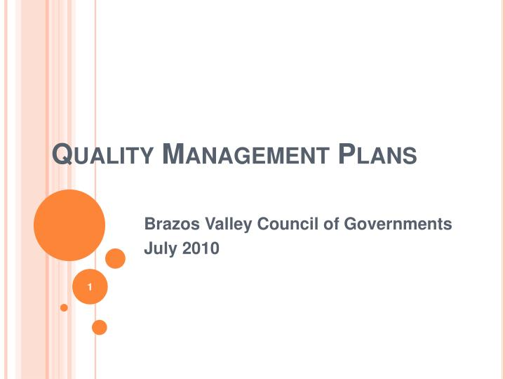 quality management plans n.