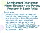 development discourses higher education and poverty reduction in south africa