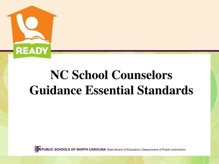 nc school counselors guidance essential standards n.