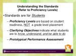 understanding the standards refer to proficiency levels