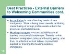 best practices external barriers to welcoming communities cont