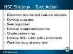 nsc strategy take action