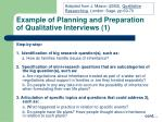 example of planning and preparation of qualitative interviews 1