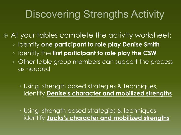 Discovering Strengths Activity
