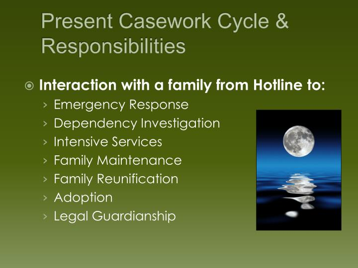 Present Casework Cycle & Responsibilities