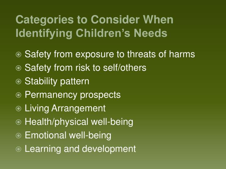 Safety from exposure to threats of harms