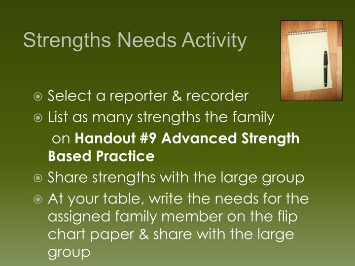 Strengths Needs