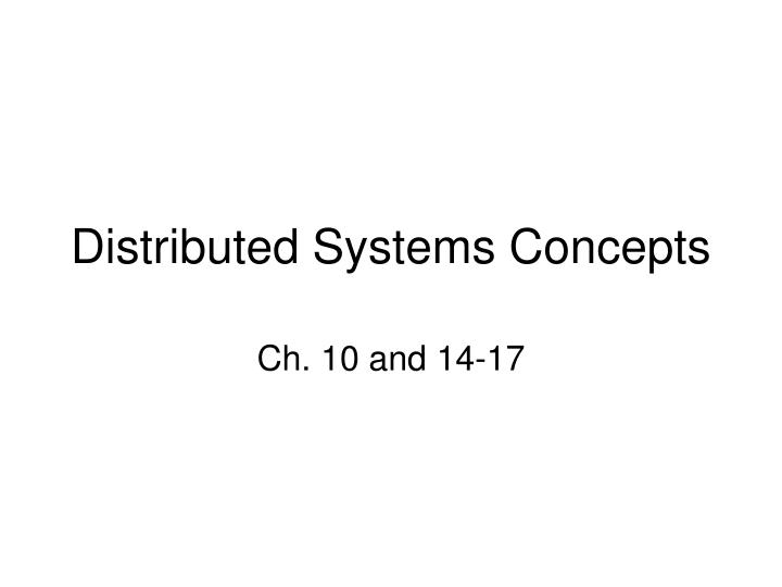 distributed systems concepts n.