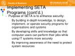 implementing seta programs cont d