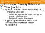 information security roles and titles cont d