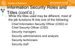 information security roles and titles cont d1