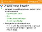 organising for security