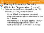 placing information security within an organisation cont d