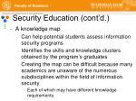 security education cont d