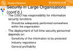 security in large organisations cont d