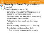 security in small organisations cont d