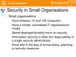 security in small organisations
