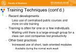 training techniques cont d